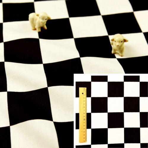 BLACK WHITE MONOCHROME Square//Meter 100/% Cotton Fabric FQ Craft Checkboard Check