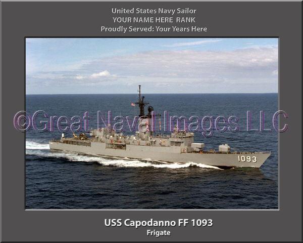 USS Capodanno FF 1093 Personalized Canvas Ship Photo Print Navy Veteran Gift
