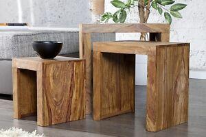 Tavolino DA SALOTTO SET DI 3 MUMBAI palissandro legno massello ...