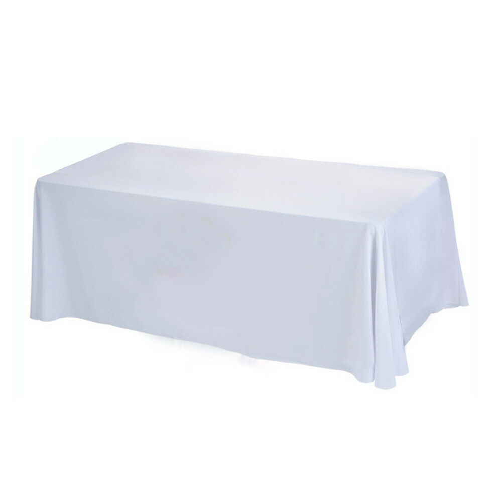 10 X Blanc Rectangle 126  X 70  Poly Nappe Table Cover Cloth Mariage Fête