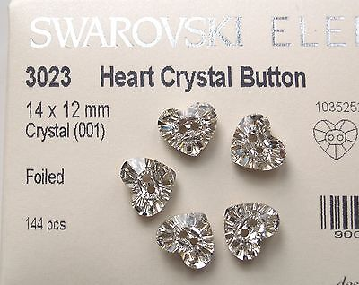 12 pcs Heart Buttons 14 x 12mm Clear Crystal (001) Swarovski NEW Foiled 3023