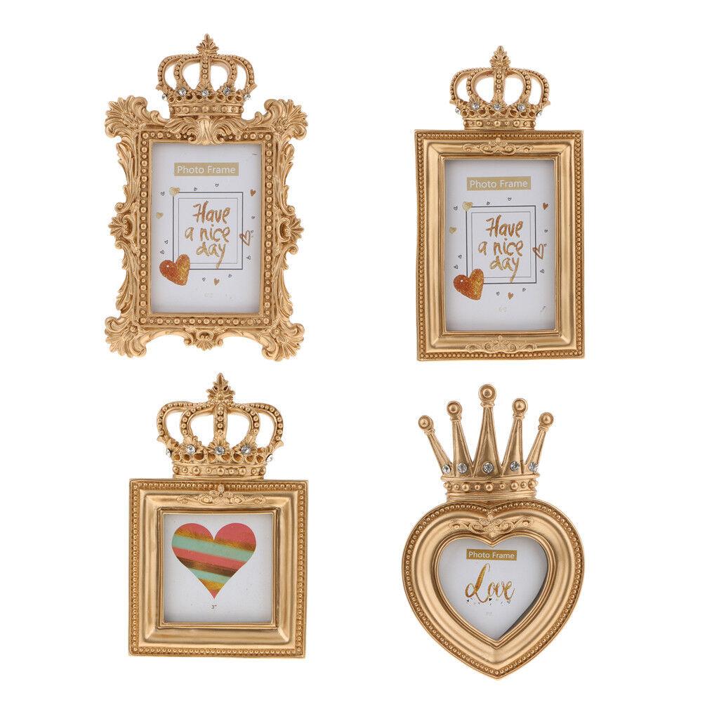 4Pcs Barocco di lusso in or barocco con cornice in resina per foto