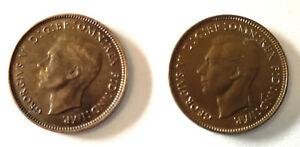 Britisch 2 X Farthing Münzen 1941 & 1947