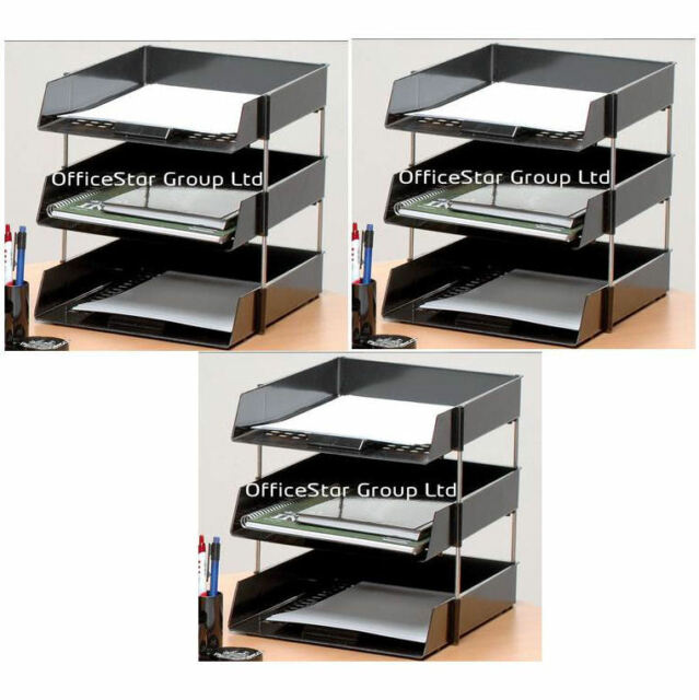 9 Black A4 Letter Filing Desk Trays Risers Stacking Paper Office Stationery