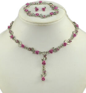 SILVER-TONE-PINK-METAL-ROSE-NECKLACE-BRACELET-amp-EARRINGS-SET