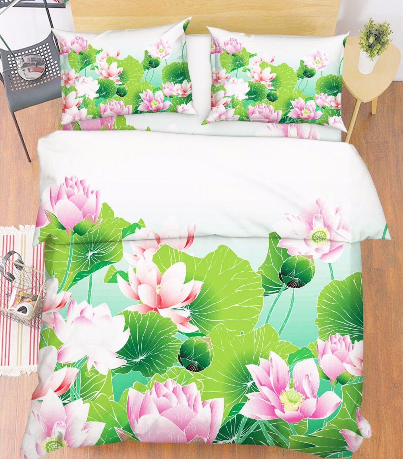 3D Lotus Pool 59 Bett Kissenbezüge steppen Duvet Decken Set Single DE Carly