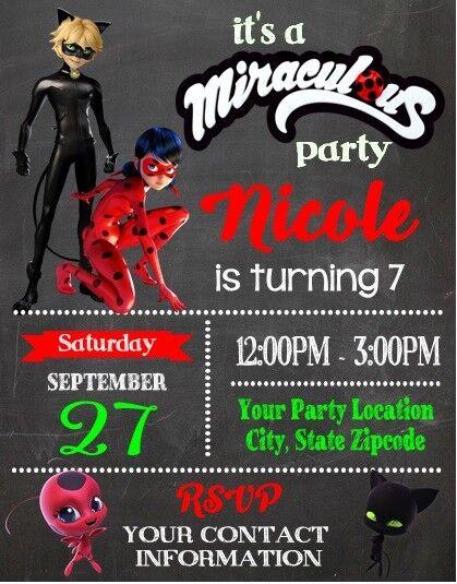 Miraculous Ladybug Birthday Party Invitations Personalized Custom