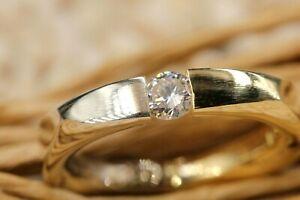 Gold 750 Diamant Ring Solitär Spannring Gr 54 1 Brillant ca 0,30 ct. VVS H