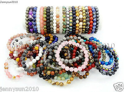 Handmade 8mm Mixed Natural Gemstone Round Beads Stretchy Bracelet Healing Reiki
