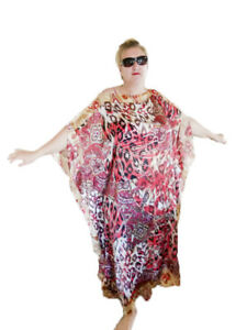 NEW-RED-Handmade-SILK-Kaftan-Plus-Size-Maxi-Beach-Caftan-Resort-Wear