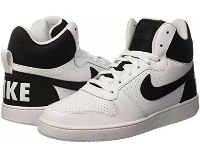 Nike Court Borough Mid Black/White Men\u2019s Size 10 Lace Up Sneaker 838938,100