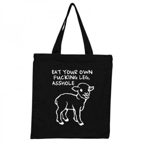 EAT YOUR OWN LEG LAMB TOTE BAG Vegan Vegetarian Animal Rights Totebag BLACK