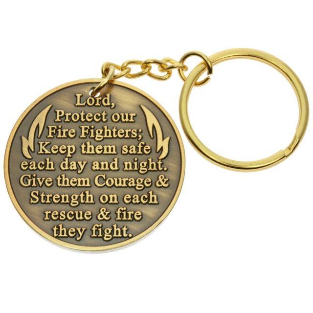 Firefighter Fireman Prayer Keychain Gold Maltese Cross