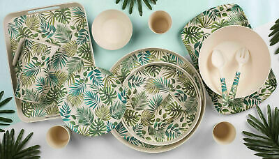 Cambridge Polynesia Bamboo Dinner Set Tableware Cutlery Eco Cups Plates Tray New