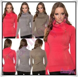 Womens-Turtle-Neck-Jumper-Ladies-Pullover-Casual-Sweater-One-Size-8-14-UK