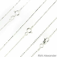 925 Sterling Silver Ball Bead Diamond Cut Chain Necklace .925 Italy All Sizes