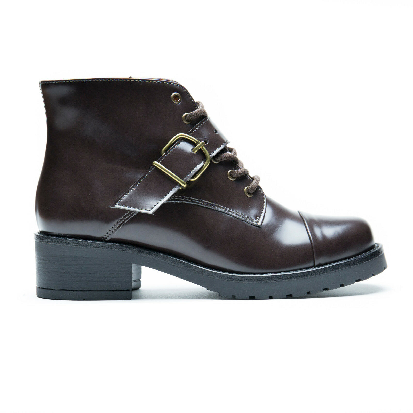 Woman vegan ankle Stiefel Lace-Up Hook Strap Block Heel Non-Skid Sole Cap Round Toe