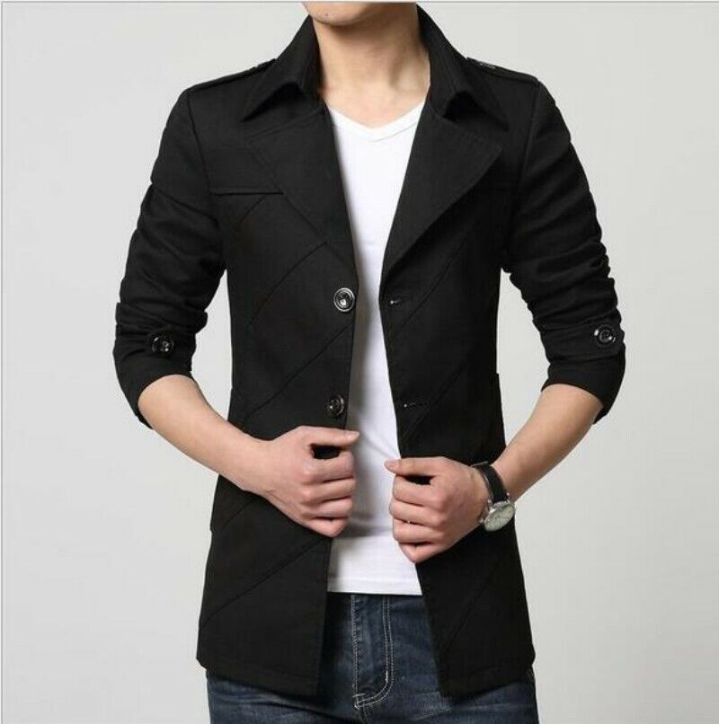 Mens Slim Fit Spring Single Breasted Lapel Med Long Cotton Coat Trench Outwear