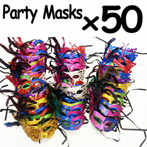 WHOLESALE LOT of 50 Party Masks Venetian Ball Party Costume Opera ***50 MASKS***