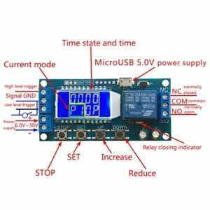 Details about LCD Display Digital Time Delay Relay Board 6-30V Control  Timer Switch Micro USB