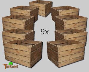 9x vecchio cassetta frutta mele vintage cassa per legna decorazione