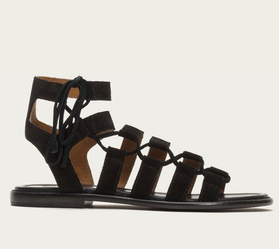 258 NEW FRYE Sz7US BLAIR SIDE GHILLIE GHILLIE GHILLIE WITH SIDE LACE SANDAL SUEDE BLACK d756c2