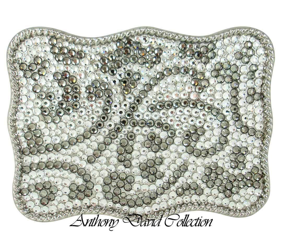 Pewter Crystal Belt Buckle with Swarovski Crystals