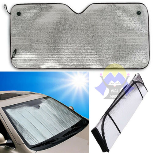 PARASOLE per AUTO Metallico CRUSCOTTO Sole 130 x 60 PARABREZZA con VENTOSE Caldo