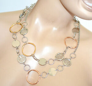 COLLANA-LUNGA-donna-argento-girocollo-catena-anelli-oro-rosa-ciondoli-BB20