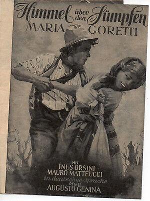 """""""himmel über Den Sümpfen - Maria Goretti"""" (1949) Werbefaltblatt / Flyer"""