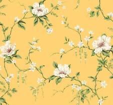 Wallpaper Designer Magnolia Vine White Cream Beige Blue Red on Yellow