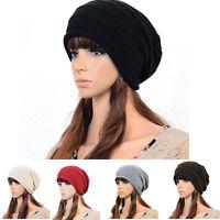 Hot Unisex Winter Plicate Baggy Beanie Knit Crochet Ski Hat oversized slouch Cap