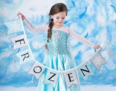 NEW FROZEN QUEEN ELSA COSTUME DRESS GIRLS KIDS PARTY SKIRT DRESS