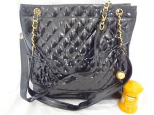 4b55b4f8aa4 Image is loading AUTH-CHANEL-BLACK-PATENT-SHOULDER-TOTE-BAG