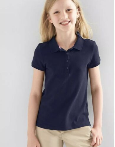 Gap Kids Girl Uniform Short Sleeve Polo T Shirt Tee Navy Blue XL