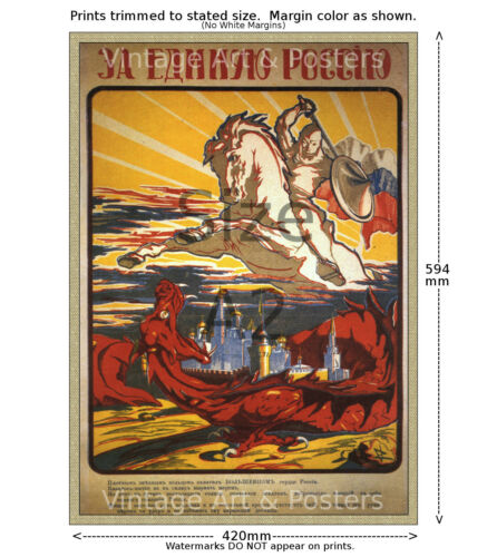 Russian White Knight 1917 Revolution Poster 4 sizes, matte+glossy avail
