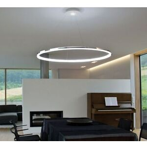Large 60cm Modern Chrome Led Flush Pendant Ceiling Light