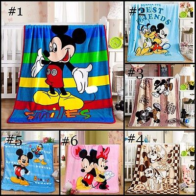 "Disney 39/""x55/"" Mickey Mouse Warm Blanket Soft Silky Flannel Throw Bedding Decor"