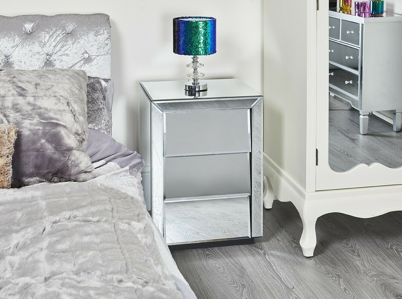 Mirrored Glass 3drawer Bedside Venetian Bedroom Night Stand Lamp Table Shelf