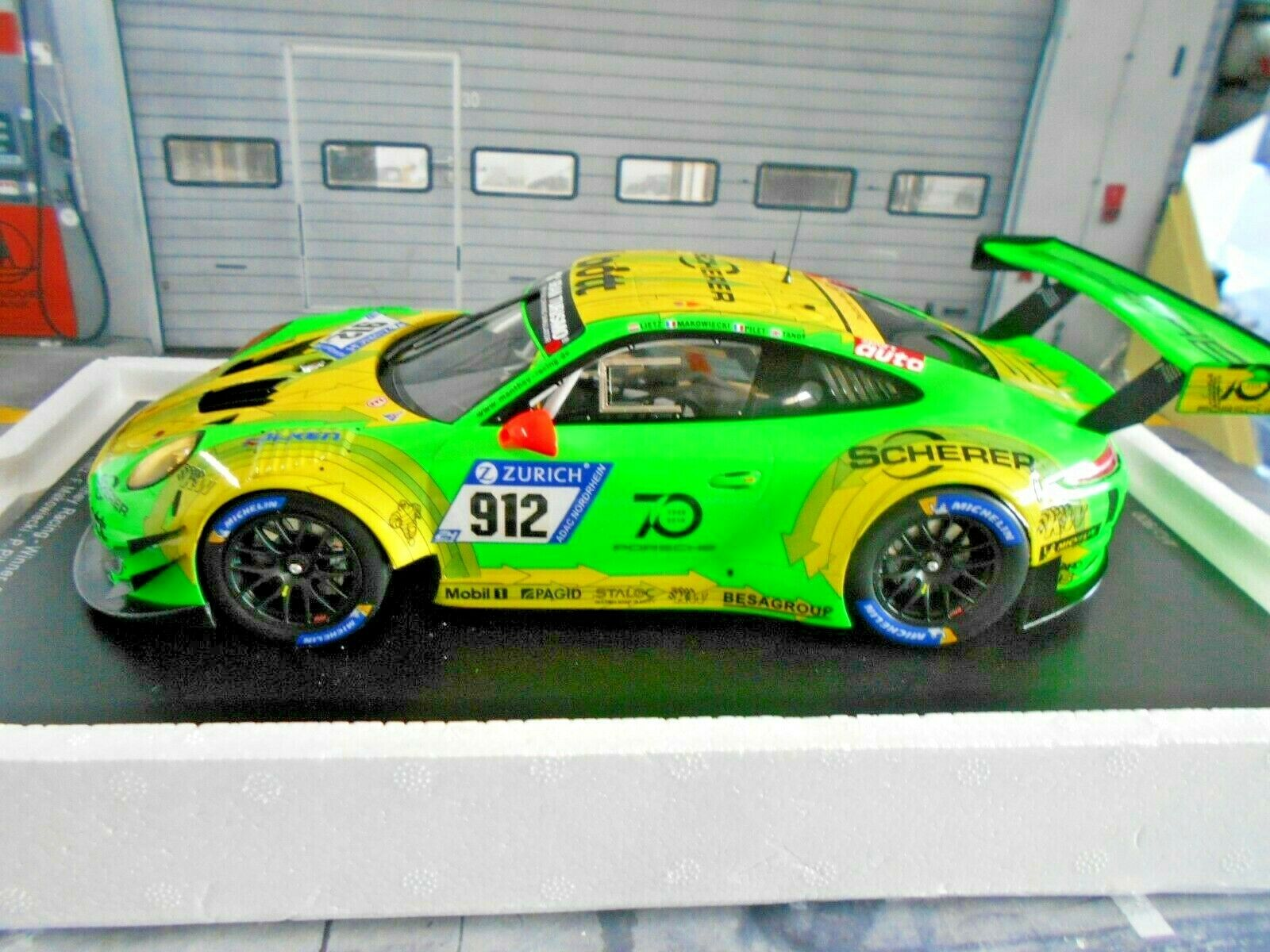 ahorrar en el despacho Porsche Porsche Porsche 911 991 gt3 R 24h nurburgring 2018 winner Manthey grello  912 Spark 1 18  venta al por mayor barato