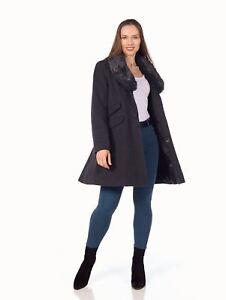 De-La-Creme-Womens-Wool-Blend-Faux-Fur-Collar-Midi-Coat