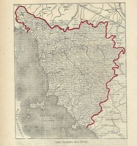 Cartina Stradale Toscana Da Stampare.Carta Geografica Antica Toscana 1891 Old Antique Map Ebay