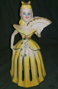 VINTAGE YELLOW DRESS LADY NAPKIN CANDLE HOLDER RHINESTONE EYES  KREISS & COMPANY