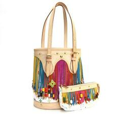 LOUIS VUITTON LV Monogram Multicolor Murakami White Bucket Fringe Tote Bag Pouch