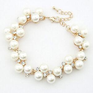 1x-Kristall-Strass-Perle-Perlen-Armband-Manschette-Kette-Frauen-Schmuck-AB