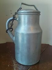 WEAR - EVER TACUCO Aluminum 1 Gal Milk Cream Can Dairy Jug w/ Chained Cover Lid