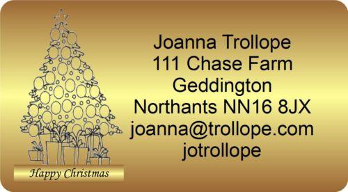 40 Adesivi Natale etichette indirizzo di ritorno con grafica oro 46mm x 25mm