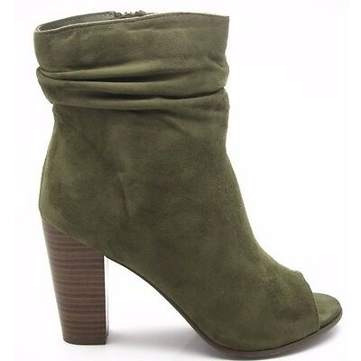 Olive Slouch Ankle Booties Faux Suede Peep Toe Block High Heels Women's Shoes