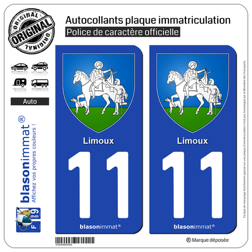 2 Adhésifs Plaque D'immatriculation Auto | 11 Limoux - Armoiries | 11300