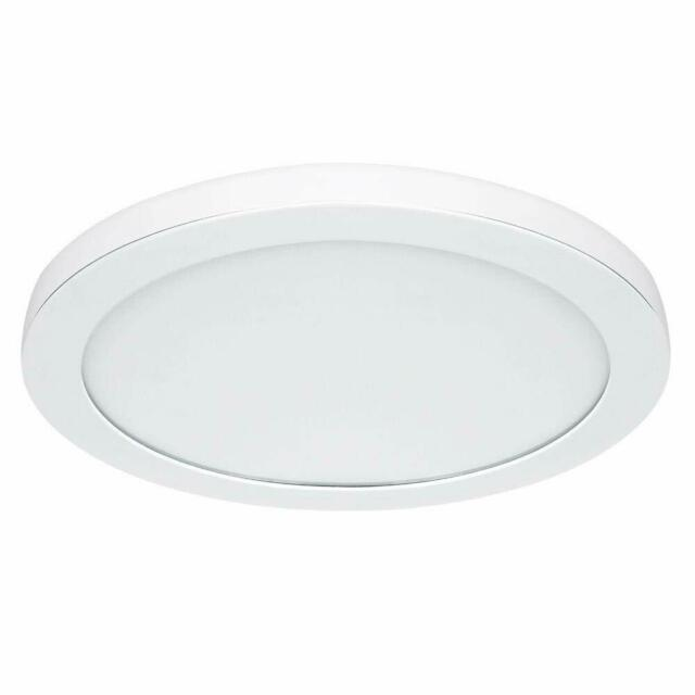 Commercial Electric 15 In White Led Flat Round Panel Flush Mount Light